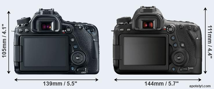 80D and 6D Mark II rear side
