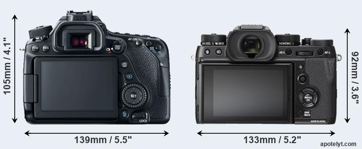 80D and X-T2 rear side