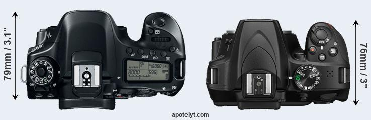 80D versus D3400 top view