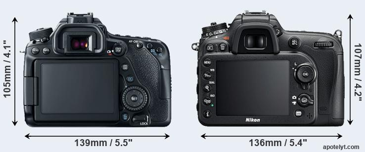 80D and D7200 rear side