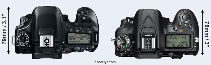 80D versus D7200 top view