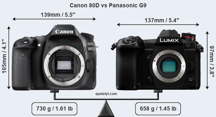 Compare Canon 80D and Panasonic G9