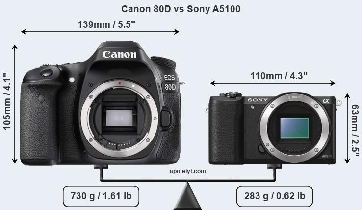 Size Canon 80D vs Sony A5100