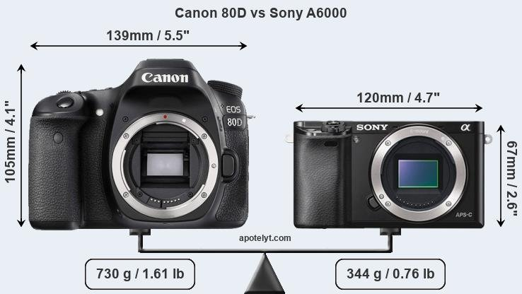 Size Canon 80D vs Sony A6000