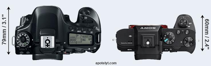 80D versus A7 II top view