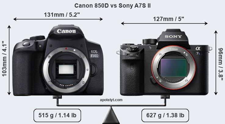 Size Canon 850D vs Sony A7S II