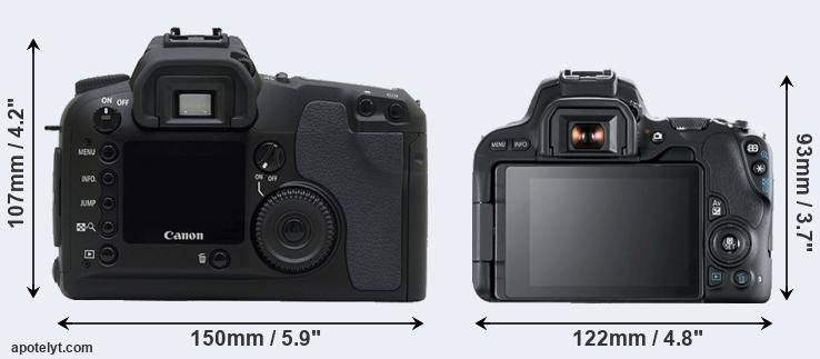 Canon D30 and SL2 rear side