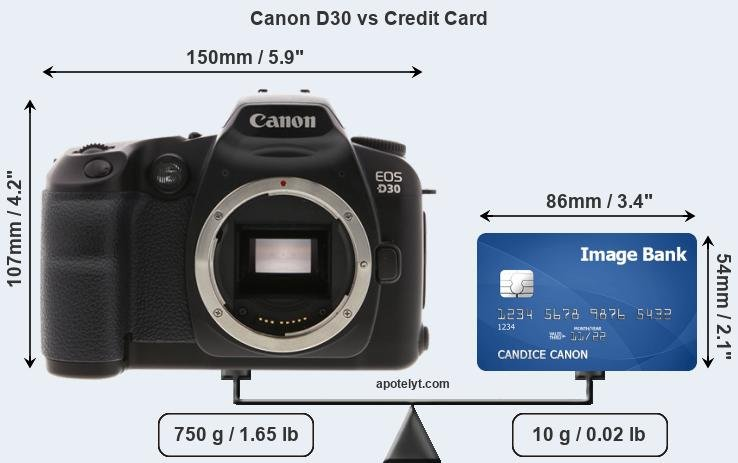 Canon D30 vs credit card front