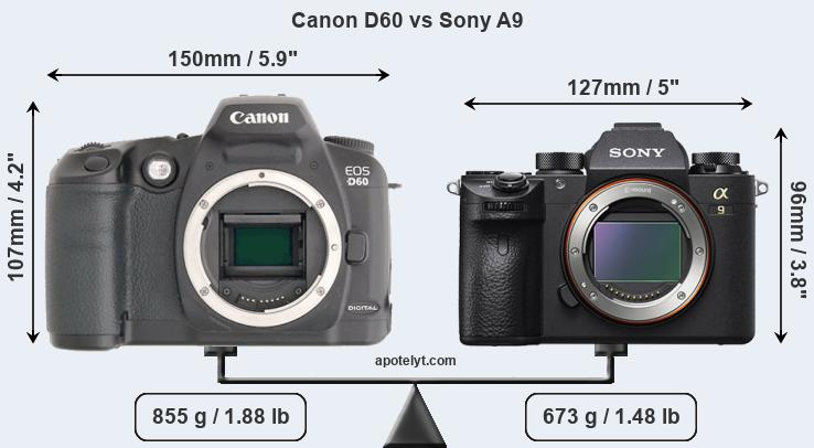 Size Canon D60 vs Sony A9