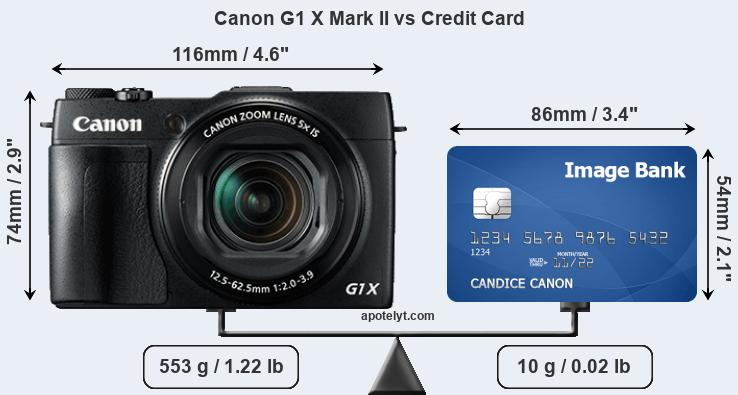 Canon G1 X Mark II vs credit card front