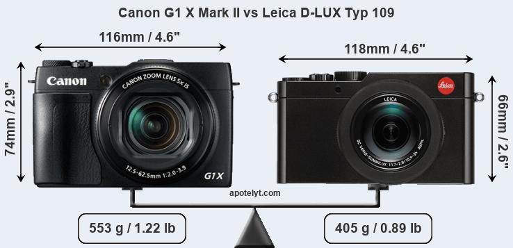 Size Canon G1 X Mark II vs Leica D-LUX Typ 109