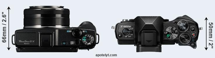 G1X Mark II versus E-M10 III top view