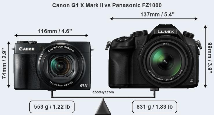 Size Canon G1 X Mark II vs Panasonic FZ1000