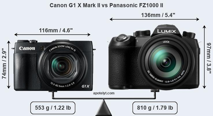 Size Canon G1 X Mark II vs Panasonic FZ1000 II