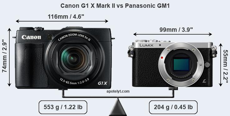 Size Canon G1 X Mark II vs Panasonic GM1