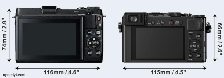 G1X Mark II and LX100 rear side