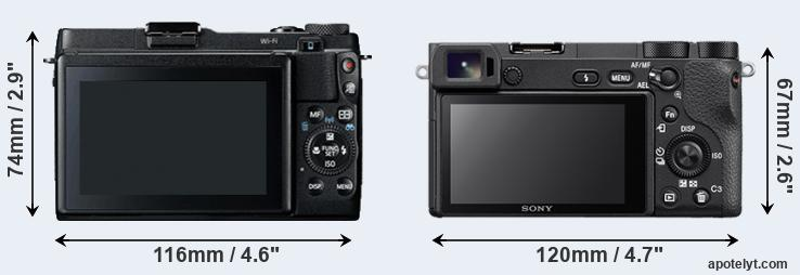 G1X Mark II and A6500 rear side