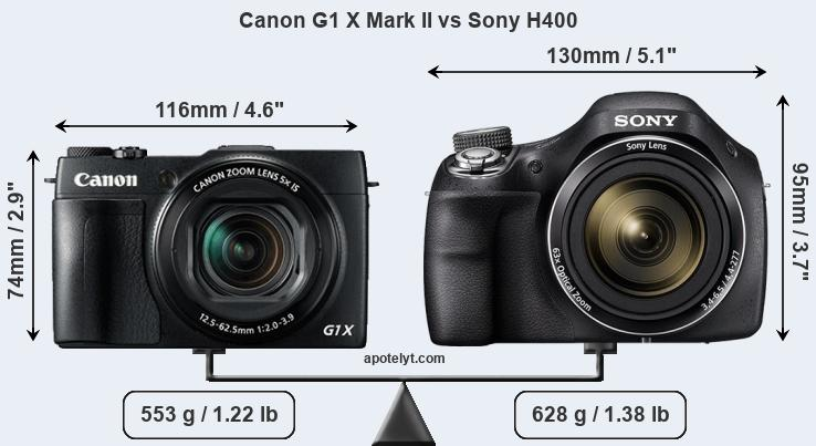 Size Canon G1 X Mark II vs Sony H400