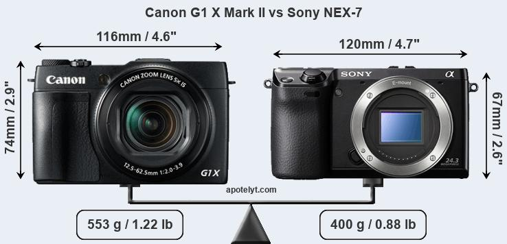 Size Canon G1 X Mark II vs Sony NEX-7