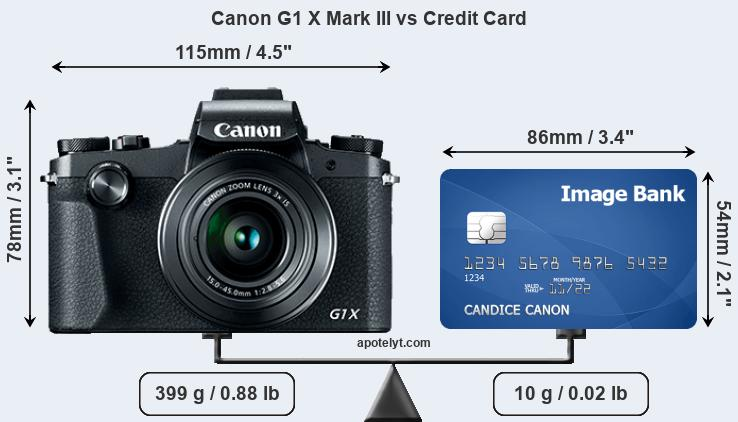 Canon G1 X Mark III vs credit card front