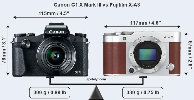 Compare Canon G1 X Mark III vs Fujifilm X-A3