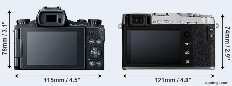 G1X Mark III and X-E3 rear side