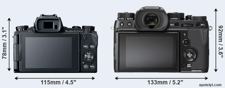 G1X Mark III and X-T2 rear side