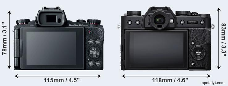 G1X Mark III and X-T20 rear side