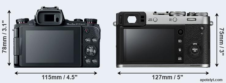 G1X Mark III and X100F rear side