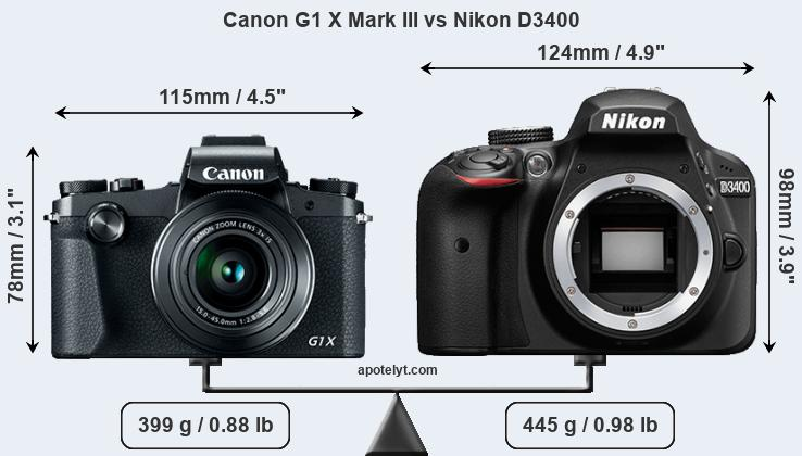 Compare Canon G1 X Mark III vs Nikon D3400
