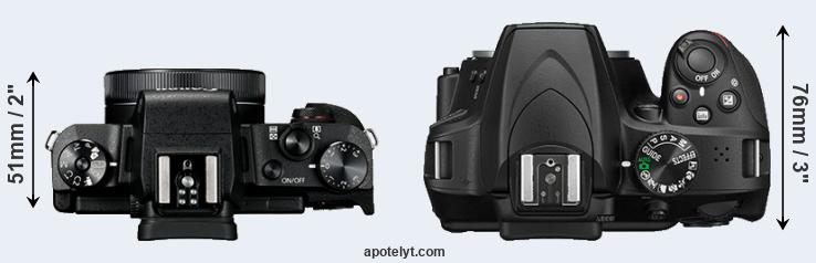 G1X Mark III versus D3400 top view