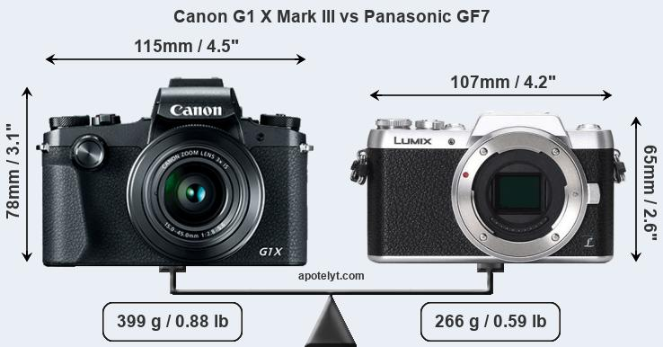 Size Canon G1 X Mark III vs Panasonic GF7