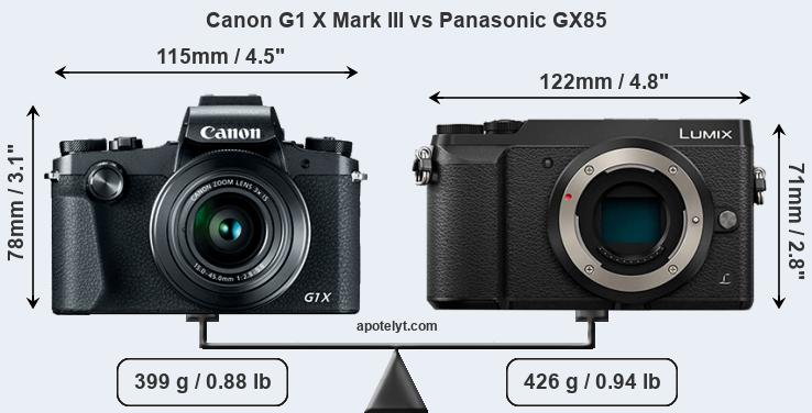 Size Canon G1 X Mark III vs Panasonic GX85