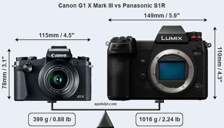 Size Canon G1 X Mark III vs Panasonic S1R