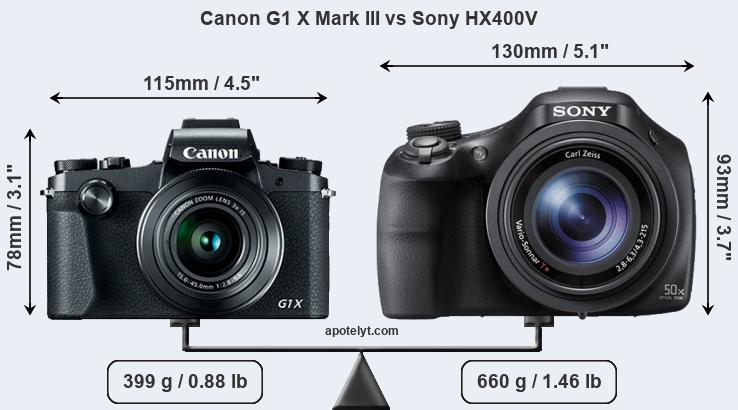 Size Canon G1 X Mark III vs Sony HX400V