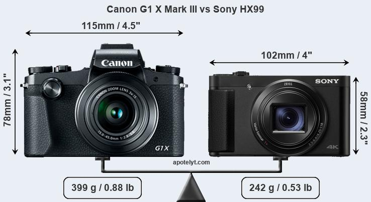 Size Canon G1 X Mark III vs Sony HX99