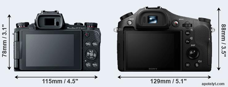 G1X Mark III and RX10 II rear side