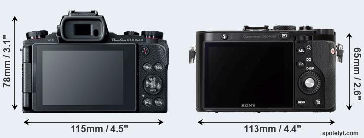 G1X Mark III and RX1R rear side