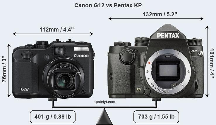 Size Canon G12 vs Pentax KP