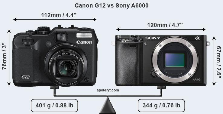 Compare Canon G12 and Sony A6000