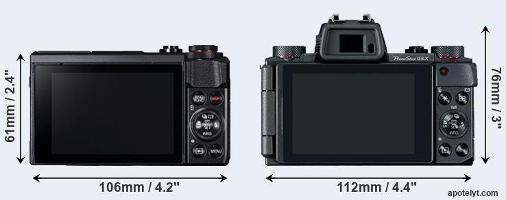 G7X Mark II and G5X rear side