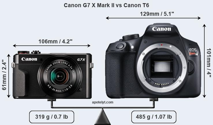 Compare Canon G7 X Mark II and Canon T6