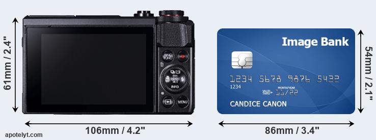 G7X Mark II and credit card rear side