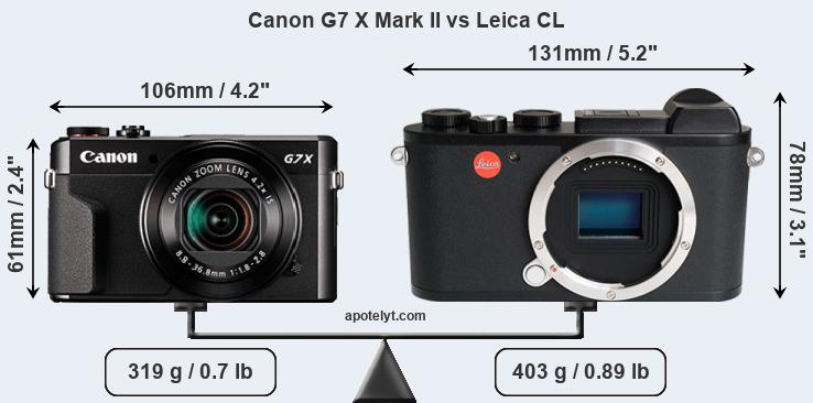 Compare Canon G7 X Mark II vs Leica CL