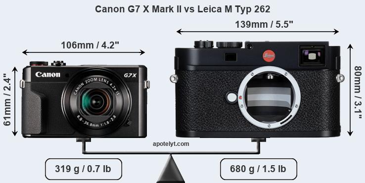 Size Canon G7 X Mark II vs Leica M Typ 262