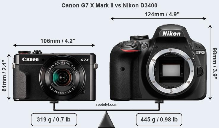 Size Canon G7 X Mark II vs Nikon D3400