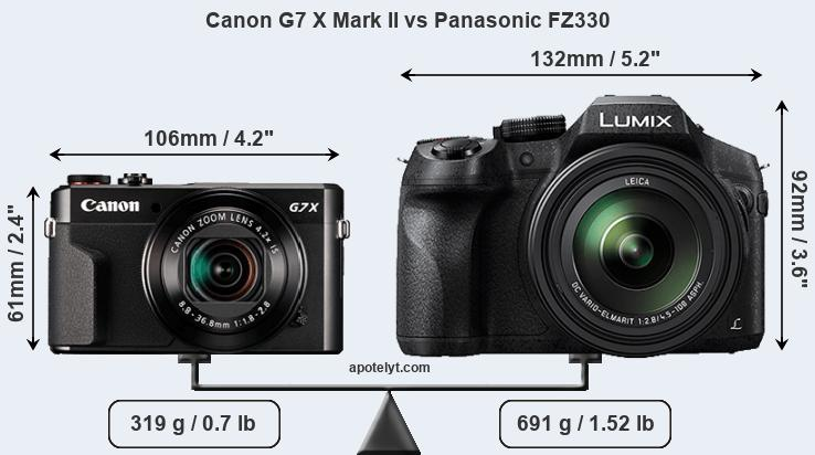 Size Canon G7 X Mark II vs Panasonic FZ330