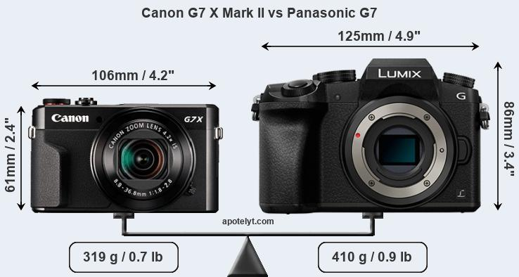 Size Canon G7 X Mark II vs Panasonic G7