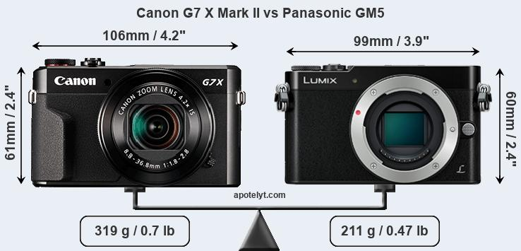 Size Canon G7 X Mark II vs Panasonic GM5