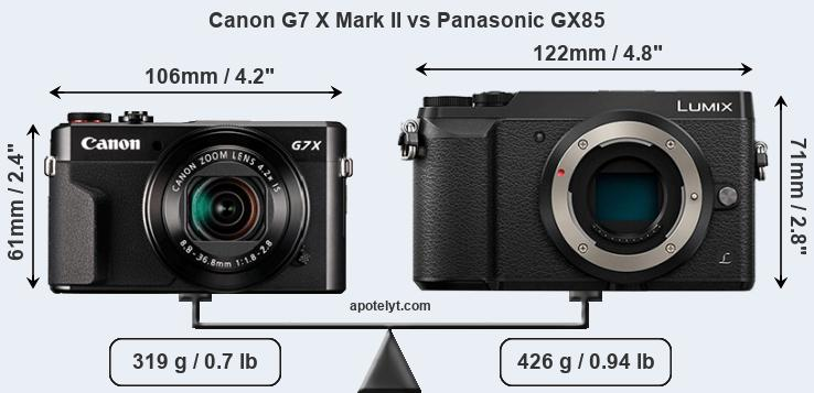 Size Canon G7 X Mark II vs Panasonic GX85